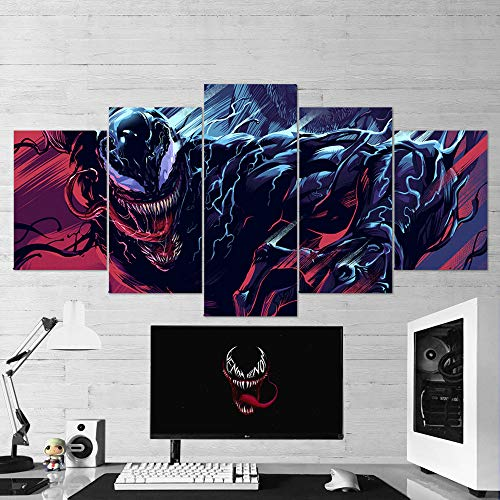 (Venom Canvas Wall Art, Venom Multi Panel Art, Venom 5 Piece Canvas Wall Art, Gaming Canvas, Venom Wall Decor, Venom Poster, Venom Gift, Framed Ready to Hang (Small 23