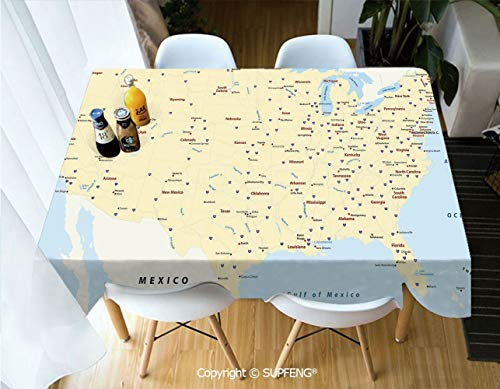 Vinyl tablecloth United States Interstate Map America Cities Travel Destinations Road Route Decorative (60 X 120 inch) Great for Buffet Table, Parties, Holiday Dinner, Wedding & More.Desktop decorati -