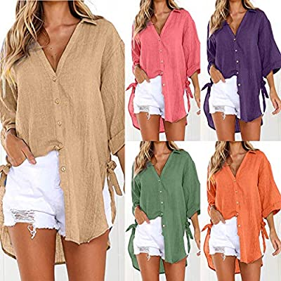 Womens Pullover Sweatshirt Plus Size,Long Sleeve Shirts V Neck Collared Button Down Shirt Tops with Pockets: Clothing