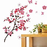 COFFLED Colourful Wall Decal Stickers,Cherry Blossom Beautiful Rich Design Art Wall Decoration for Bedroom or Sitting Room