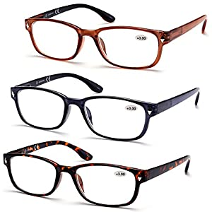 KZ 3-Pack Men Women Wayfarer Reading Glasses Readers w/ Spring Hinges