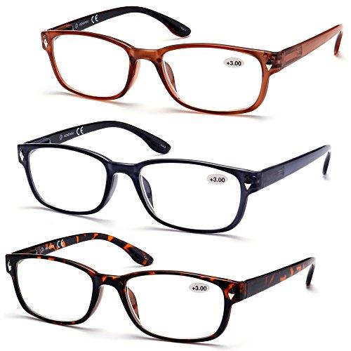High Value Pack! 3 pack wayfarer reading glasses for men women (+2.00 200, - Discount Wayfarer