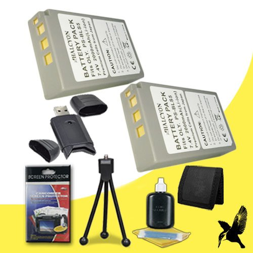 Two Halcyon 2000 mAH Lithium Ion Replacement BLS-5 Battery + Memory Card Wallet + SDHC Card USB Reader + Deluxe Starter Kit for Olympus PEN Digital E-PL2, E-PL5, E-PM2, and Olympus Stylus 1 Digital Cameras and Olympus BLS-5