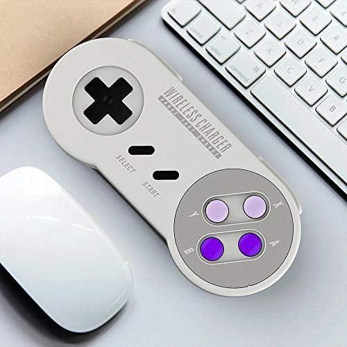 ゲームパッド チーワイヤレス充電器10W 5WヴィンテージSFCゲームパッド土産版ホワイト ゲーム操作に適しています (Color : White, Size : One size)