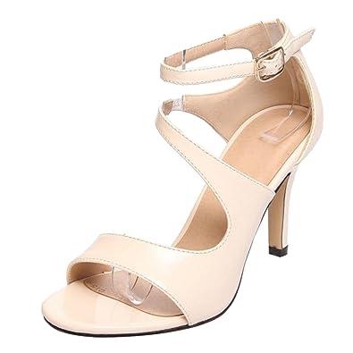 ee026473d9b34b RAZAMAZA Damen Stiletto Sandalen Sommer Sandaletten Schuhe Apricot Size 33  Asian
