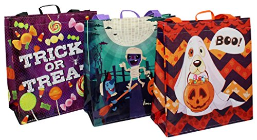 Earthwise Halloween Bags Trick or Treat - Reusable Grocery Candy Goodie Totes Baggies Party Favor Bags (6 Pack)