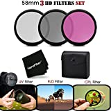 3 Piece High Definition 58mm Filter SET with Protective Case for CANON EOS REBEL T6i T6S T5 T5i T4i T3 T3i T2i T1i EOS M EOS M2 EOS 70D 60d 60Da 7D 6D 5D 7D Mark II 5D Mark II 5D Mark III EOS 1200D 1100D 760D 750D 700D 650D 600D 550D 8000D 100D XTi XT SL1 XSi DSLR Cameras