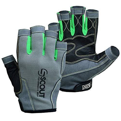ScoutPerformanceGear Premium Sailing Gloves Dexter Series - 3/4 Finger Padded Grippy Palm - Spandex Back for Best Sailing, Kayaking, Fishing Experience for Men Women (2X-Large)