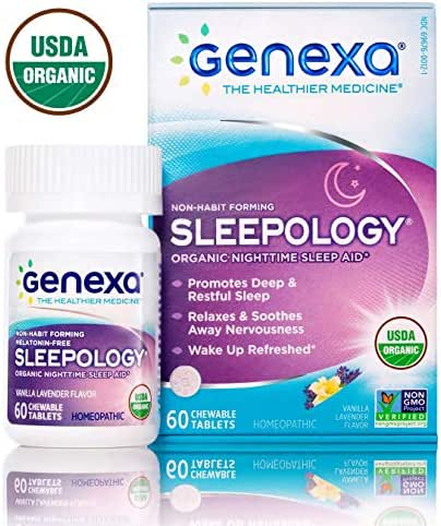 Genexa Sleepology | Certified Organic & Non-GMO, Melatonin-Free, Physician Formulated, Homeopathic | Sleep Aid | 60 Tablets