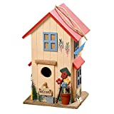 The Cozy Cottage Bird House, Hand Crafted,Rustic Red Roof, Red Window Frames, 3D Welcome Sign, Potted Flowers and Watering Can Details, Twine Hanger, 10 1/4 Inches Tall, By WHW For Sale