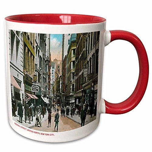 3dRose BLN Scenes of New York City Collection - Nassau Street Looking North, New York City - 15oz Two-Tone Red Mug (mug_170147_10)