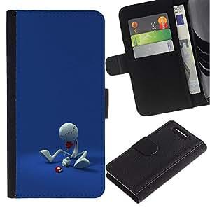 KingStore / Leather Etui en cuir / Sony Xperia Z1 Compact D5503 / Figura minimalista divertido