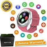 SEPVER Smart Watches Smart Watch SN05 Round Smartwatch with SIM TF Card Slot Sync Calls Notifications for IOS Android Samsung Huawei Sony LG HTC Google Men Women Kids Girls Boys (Pink)