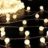 50 rice lights - 50 Leds 16 Feet Globe LED String Lights Battery Powered Indoor Outdoor Decorative Fairy Lights Curtain for Patio, Gardens, Bedroom, Wedding, Party (Warm White)