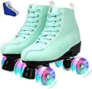High-top Roller Skates Four-Wheel Roller Skates Fun Shiny Roller Skates, Women's Classic Roller Skates - P