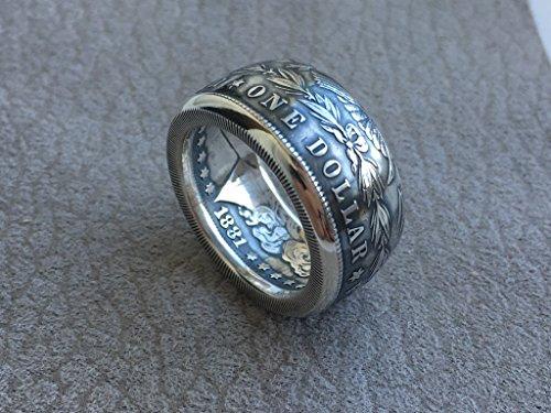 (Morgan Dollar Ring - Silver Ring - Made from Morgan Dollar coin - mens ring)