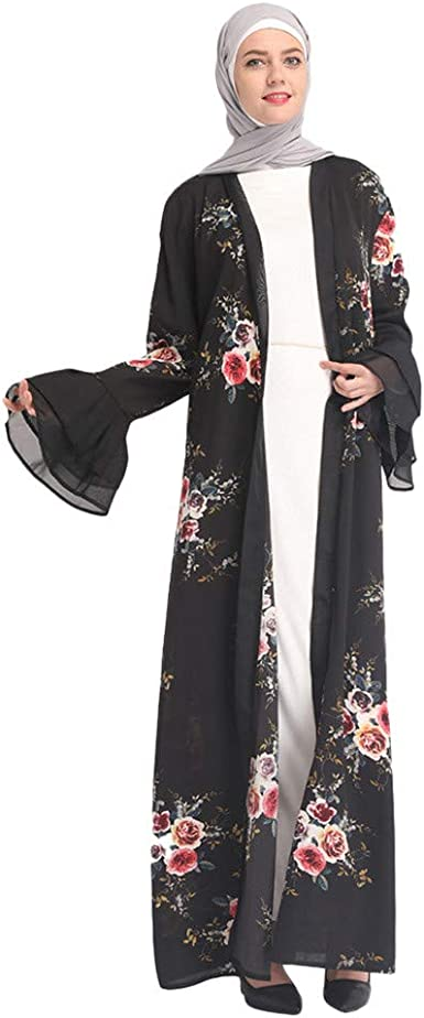 Women Muslim Cardigan Flowy Open Front Abaya Maxi Cover up Bell Sleeve Kaftan Kimono Loose Robes Nightwear