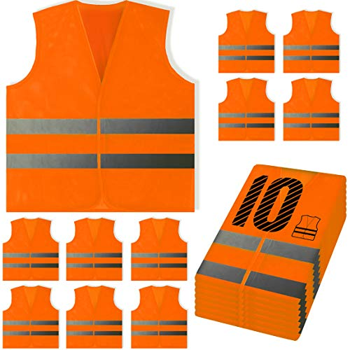 PeerBasics, 10 Pack, Orange Reflective Safety Vest, Silver Strip (Orange Mesh, 10)