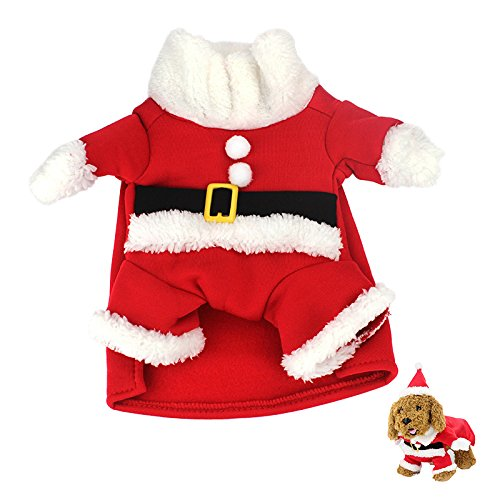 Idepet Pet Dog Cat Christmas Xmas Costume,Cute and Hilarious Outfit,Santa Pet Apparel for Winter,Autumn -
