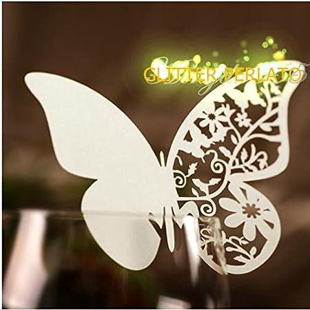 Farfalle Segnaposto Matrimonio.100 Farfalle Segnaposto Segna Bicchiere Bianca Perlata Bomboniera