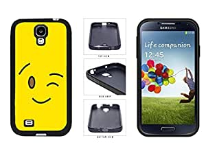 Bright Yellow Wink Smiley Face TPU RUBBER SILICONE Phone Case Back Cover Samsung Galaxy S4 I9500
