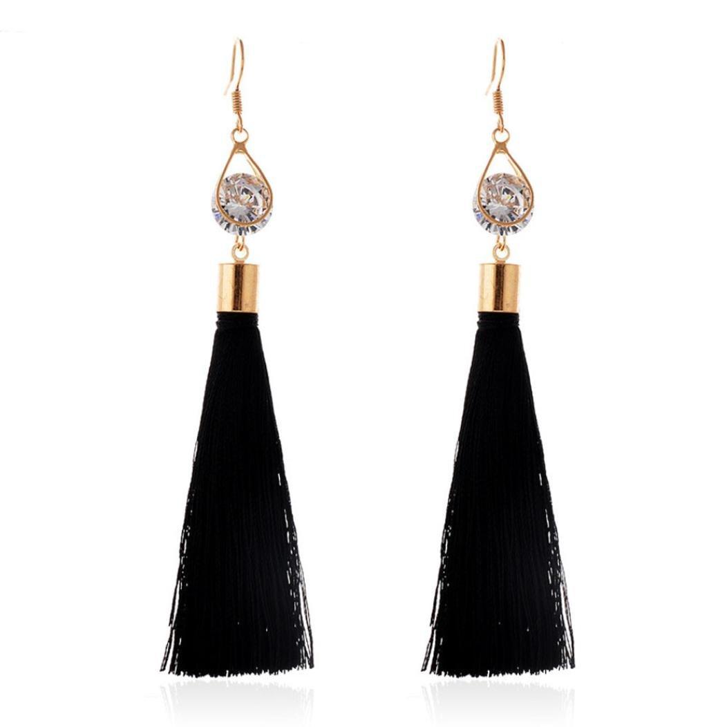 DZT1968 Women Girl Water droplets long Tassels Gorgeous Hoop Earrings Jewelry (Black)