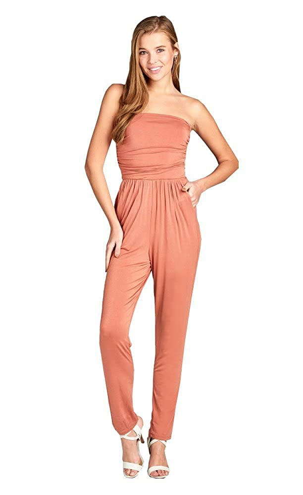 c5855dc1769 Amazon.com  BLACKASHMERE Women s Tube Top Jumpsuit with Pockets  Clothing