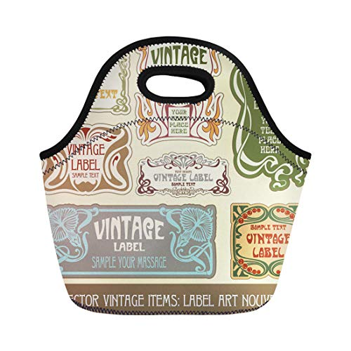 Semtomn Lunch Bags Pattern Border Vintage Label Nouveau Flower Retro Wine Tag Neoprene Lunch Bag Lunchbox Tote Bag Portable Picnic Bag Cooler Bag ()