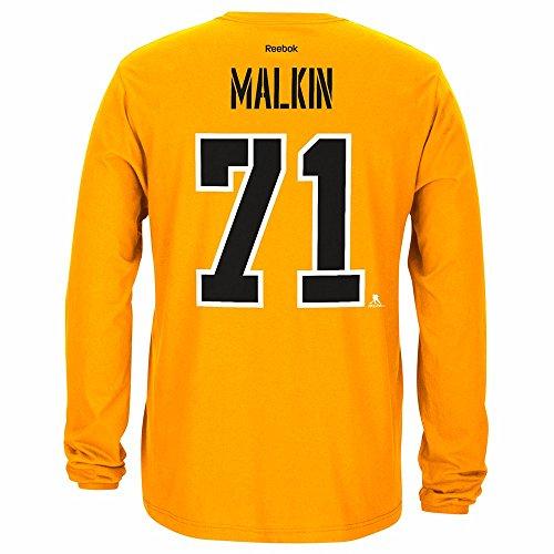 Reebok Evgeni Malkin Pittsburgh Penguins NHL Gold Player Name & Number Team Jersey Long Sleeve T-Shirt for Men (S)