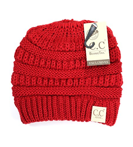 Crane Clothing Co. Women s Kids Solid Classic CC Beanie Tail One Size Red 250209db7faf