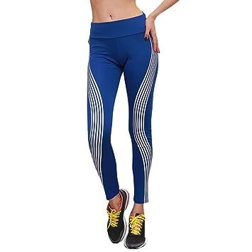 LANSKIRT Damen Leggings Hosen Neonregenbogen Gamaschen Fitness Sport Gym  Running Yoga Sporthose (S, Blau c94ba1cc4f