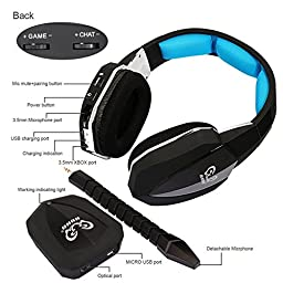 Wireless Headphones for PC BliGli HUHD 2.4Ghz Optical gaming Headset Earphone for Xbox One,Xbox 360,PS4,PS3,MAC with Detachable Microphone (Blue)