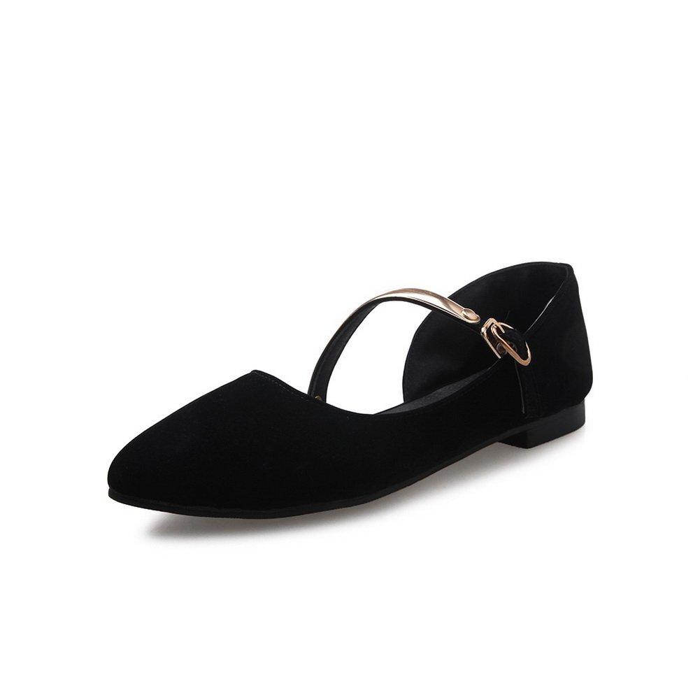 BalaMasa Ladies Pointed-Toe Square Heels Buckle Black Urethane Flats-Shoes - 5 B(M) US