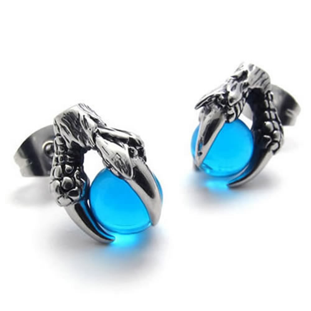 Konov Jewelry Dragon Claw Stainless Steel Mens Stud Earrings Set, 1 Pair 2pcs, Silver Blue, with Gift Bag, C20472 10020472C