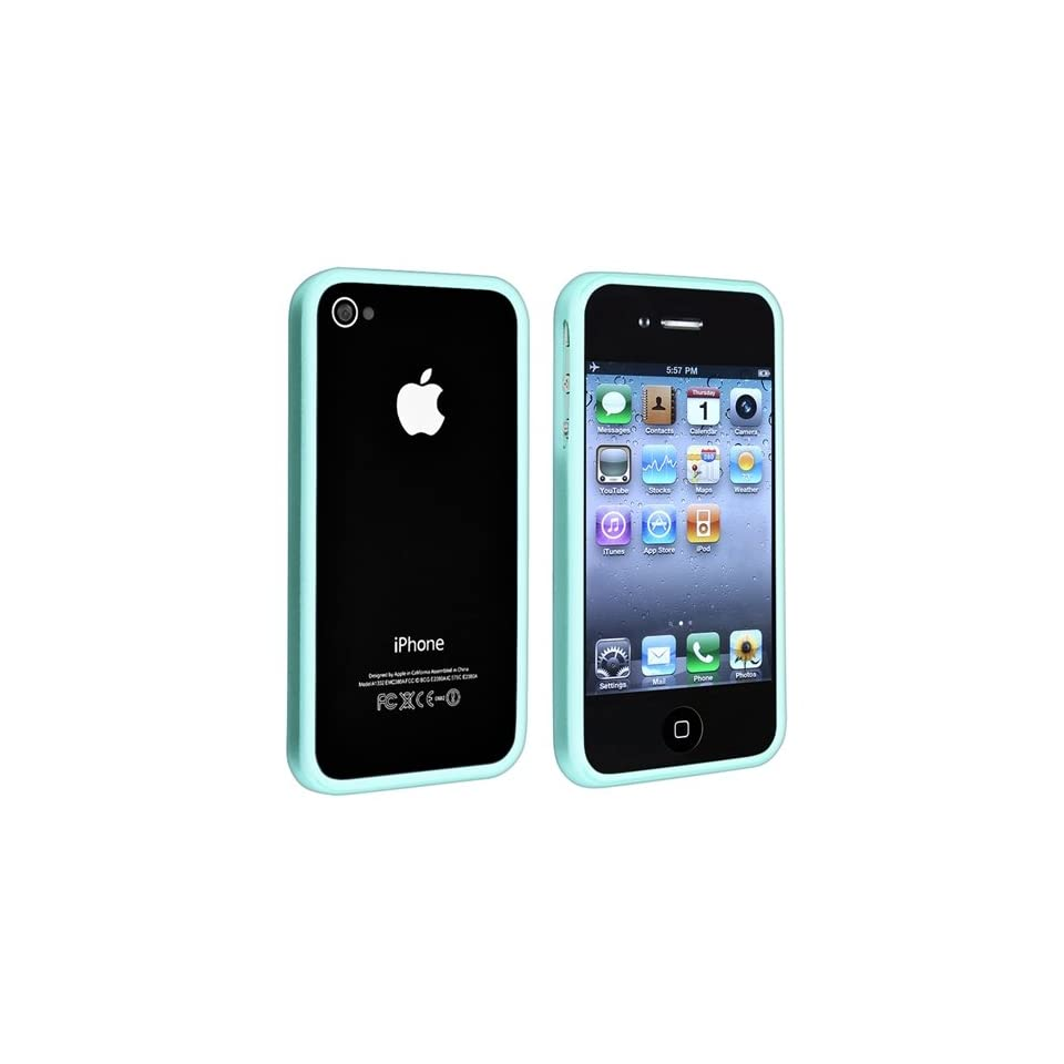 eForCity TPU Rubber Bumper Case + with Free Reusable Clear Screen Protector Compatible with Apple® iPhone® 4 4S, Blue Shiny