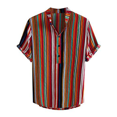 haoricu Summer Mens Short Sleeve Shirts Linen Cotton Button Down Fishing Striped Tees Plain Summer Shirts (Red, XXL) ()