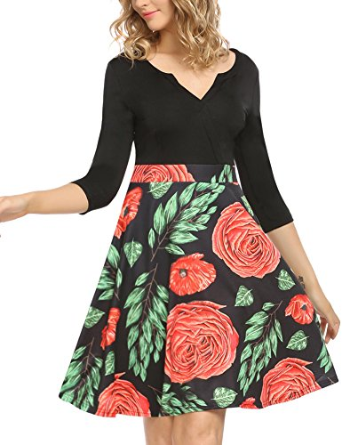 ANGVNS Women's Elegant Fit and Floral Patchwork Swing Casual Party Dress (Red,XX-Large) by ANGVNS