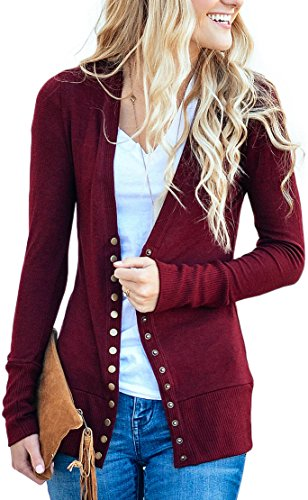 (NENONA Women's V-Neck Button Down Knitwear Long Sleeve Soft Basic Knit Snap Cardigan Sweater(Burgundy-M))