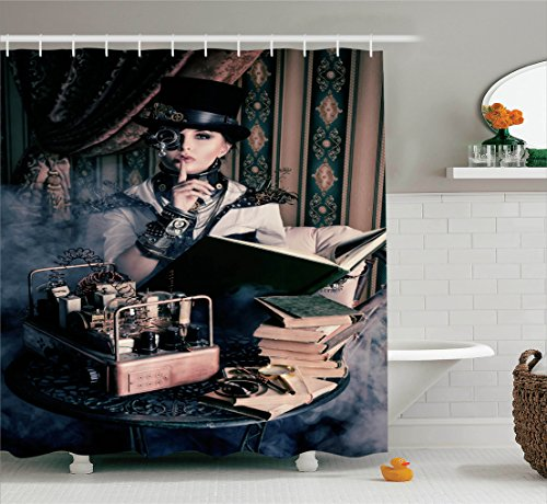 Gothic Decor Shower Curtain Set By Ambesonne, Portrait Of Steampunk Woman With Medieval Vintage Style Outfit Historic Fashion Art Photo, Bathroom Accessories, 69W X 70L Inches, Brown Teal