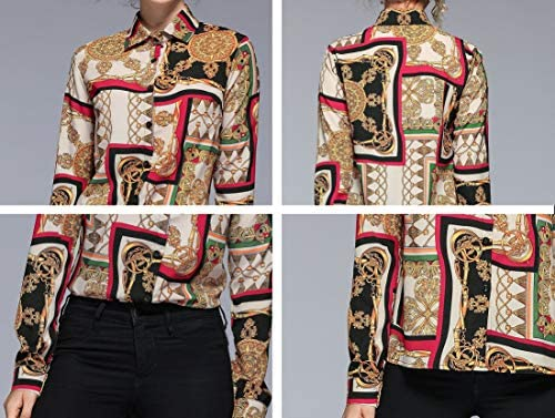 Women's Baroque Print Shirt Regular Fit Long Sleeve Button up Casual Blouse Top