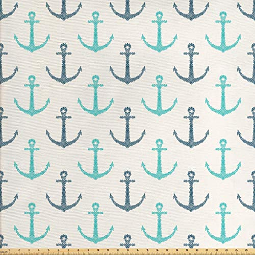 Lunarable Nautical Fabric The Yard, Line Art Hand Drawn Anchors Minimalism Inspired Maritime Pale Toned Image, Decorative Fabric Upholstery Home Accents, 1 Yard, Seafoam Dark Blue
