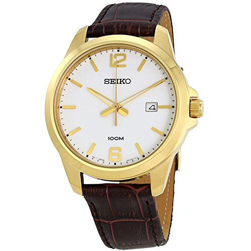Seiko-Mens-42mm-Brown-Leather-Band-Steel-Case-Hardlex-Crystal-Quartz-White-Dial-Analog-Watch-SUR252