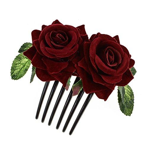 Pieces Headpiece - DreamLily Rose Flower Headpiece Hair Comb Flamenco Dancer Hair Piece Wedding Headdress JZ16 (Burgundy)