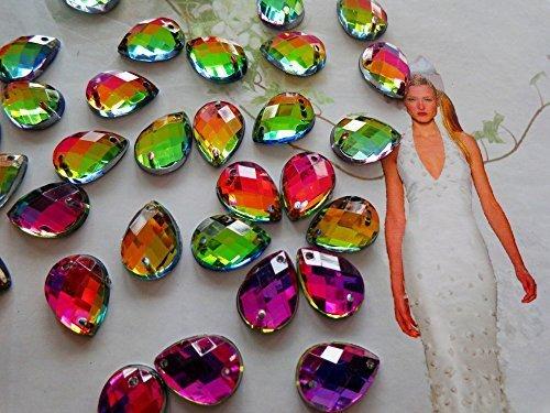 10x14mm 100pcs/lot Multi-Colour Sew on Rhinestones Water Drop Shape Crystal Stones Mesh Flatback for Dress ()