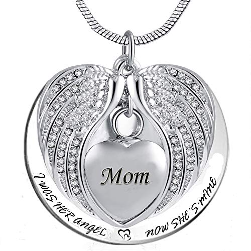 PREKIAR Angel Wing Urn Necklace for Ashes, Heart Cremation Memorial Keepsake Pendant Necklace Jewelry with Fill Kit and Gift Box (Mom)