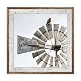 Hawk on an Aermotor Windmill Photo, 24 x 24 Inches, Framed in Rustic Whitewashed Barnwood, Western Art, Wall Decor, Ranch Photography, Barnwood Frame