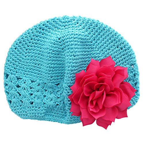 Blue Crochet Flower (My Lello Little Girl's Crochet Beanie Hat with Flower One Size Turquoise/Hot Pink)