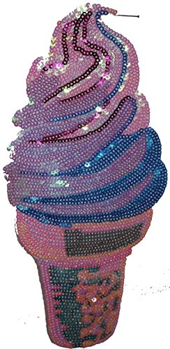 Pink and Blue Ice Cream Cone: Sequin Patch