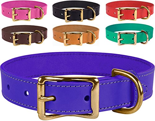 BronzeDog Basic Classic Handmade Genuine Leather Dog Collar, Buckle Brass Leather Collar For Dogs, Puppy Collar Small Medium Large, Pink Red Black Brown Purple Green (Neck Size 8'-11', Purple)