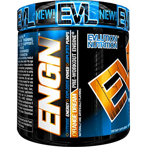 Evlution Nutrition ENGN Pre-Workout, Pikatropin-Free, 30 Servings, Intense Pre-Workout Powder for Increased Energy, Power, and Focus Orange Dream